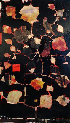 Reza Derakshani  untitled,mixed media on canvas,160x90cm.