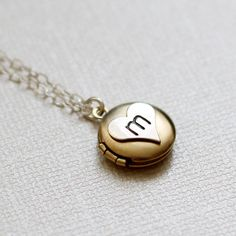 Tiny Initial Locket, Personalized Locket, Sterling Silver Initial Heart Necklace, Golden Locket Brass on Etsy, $28.00