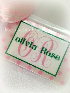 Pink, Polka Dot & Perfect for your little girl's Travel Bag!  Baby Girl Luggage Bag Tag Pink and Green by Chocolatetulipdesign