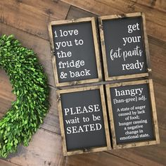 Kitchen Interior Design RElovedLumber Kitchen Signs - Choose from 4 Styles Kitchen Signs, Home Decor Kitchen, Rustic Kitchen, Interior Design Kitchen, New Kitchen, Kitchen Ideas, Country Kitchen, Kitchen Themes, Kitchen Tools