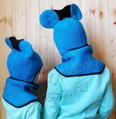 Вязаная шапка-Микки Маус и манишка на пуговицах