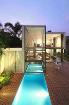 villa contemporaine, une maison de rêves transparente