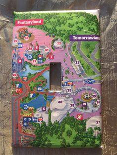 Walt DIsney World Magic Kingdom map light switch cover. $6.99, via Etsy.