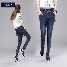 Free Shipping 2017 Fashion Long Pants For Women Casual Trousers Plus Size 26-34 All Match Loose Denim Jeans Female Harem Pants