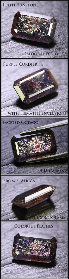 Purple cordierite, also known as iolite sunstone or bloodshot iolite (confetti hematite inclusions)
