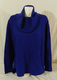 DKNY JEANS Womens Tunic Cowl Neck Pullover Sweater, Baltic Blue NWT XL #DKNY #CowlNeck