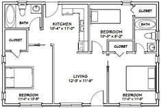 PDF house plans, garage plans, & shed plans. Bungalow Floor Plans, Basement Floor Plans, Cottage Floor Plans, Farmhouse Floor Plans, Apartment Floor Plans, Cottage Plan, Cottage House, Metal House Plans, Modern House Floor Plans