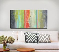 Abstract Art Green Gray Grey Coral Stripes - 48x24 - Shipping included w/in Cont US - Original Abstract Painting. $239.00, via Etsy.