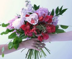 How to arrange a bouquet of pretty pink blooms and foliage, ideal for displaying in a vase or gifting to a loved one