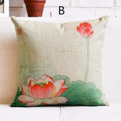 Chinese style Lotus decorative throw pillows 18 inch flower sofa cushions