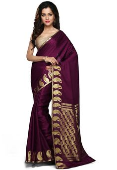 Dark Magenta Pure Mysore Silk Saree with Blouse. South Indian fashion.