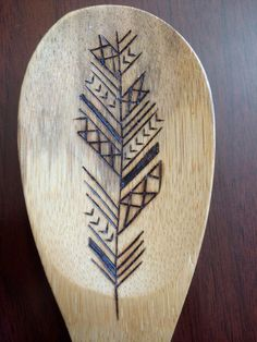 Tribal Feather Wood Burned Spoon