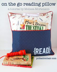On the Go Reading Pillow    Make car, plane and camping trips more fun as families can have storytime simply and easily. This DIY gift is a pillow that also holds storybooks, keeping them from getting lost, bent or torn.