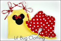 Custom Boutique Clothing Yellow and Red Minnie Mouse Short and Top. $34.50, via Etsy.