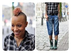a diptych of a fierce, young, black, female. left side: a close up of this persons face, smiling, with a dyed mohawkm & monroe piercing. right side: a photo of this person's outfit: a short sleeved black, white & grey plaid shirt, with 3/4 length loose fitting blue jeans, and green half-laced 10 hole doc marten boots. tattoos on their arms, wrists, & legs are peeking out from underneath their clothes.