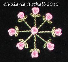 Crazy Quilt Stitch #201, Bullion Roses + Stem Stitch + Lazy Daisies ©Valerie Bothell 2015