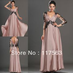 High Quality Dark Pink V Neck Lace Chiffon Formal Evening Dress Women With Long Sleeve Free Shipping WL181 $127.00