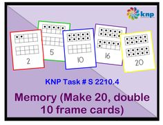 """Memory (Make 20, double 10 frame cards)"" - Tell 2 numbers that go together to make 20. Supports learning Common Core Standards: 1.OA.6, 2.OA.2 [KNP Task # S 2210.4]"