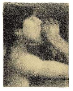Georges Seurat Study for Bathers at Asnières (known as The Echo), 1883 Conté crayon - x 24 cm New Haven, Yale University Art Gallery Georges Seurat, Art Postal, Art Gallery, Crayon Drawings, Ink Drawings, Chiaroscuro, Oeuvre D'art, Les Oeuvres, Painting & Drawing