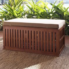 Coral Coast Parkway 47 in. Outdoor Wood Storage Deck Box with Cushion - Stash your accent pillows (or maybe even garden supplies) and score spare seating all at once with the Coral Coast Parkway 47 in.