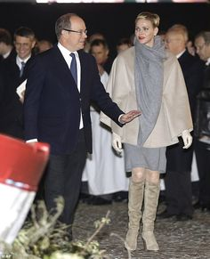 Princess Charlene of Monaco, 38, and her husband Prince Albert, 57, stepped out for a cele...