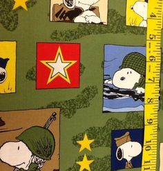 Hugs For Heroes Peanut Snoopy Military Army Fabric By Quilting Treasures Cotton