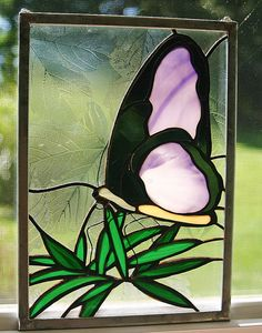 Stained Glass Design Window Panel Purple Butterfly