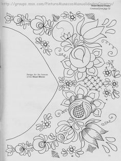 pattern for Bauernmalerei Embroidery Neck Designs, Embroidery Motifs, Learn Embroidery, Floral Embroidery, Mexican Embroidery, Hungarian Embroidery, Painting Patterns, Fabric Painting, Needlework
