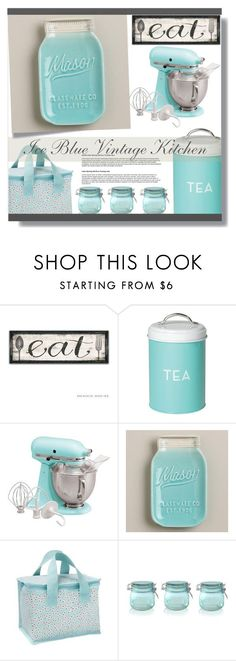 """Vintage Kitchen Decor. ( Ice Blue)"" by farmgirl2015 ❤ liked on Polyvore featuring interior, interiors, interior design, home, home decor, interior decorating, Dot & Bo, KitchenAid, Cost Plus World Market and Ulster Weavers"