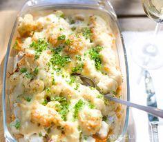Kabeljauw-aardappelgratin van zoete aardappels