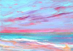 """""""Cat # 13213 MAGENTA BEACH - ACEO or ATC"""" by Sea Dean - Professional Acrylic finished to exacting collector standards. Signed front and back and including a Certificate of Authenticity. I'm always happy to recreate one of my miniatures in any size on commission #seadean #paintamasterpiece #ACEO #ATC #painting #waves #seascape #magenta - Copyright 2013 Sea Dean. Pins or shares permitted with this description attached."""