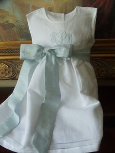 Toddler Girl White Linen Dress with Hemstitching by Rorograce, $30.00