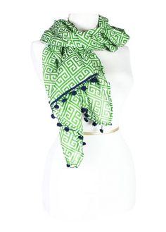 Greek Key Green Scarf