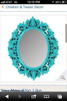 Mirror from hobby lobby..getting these in 3 colors. pink, teal, purple.