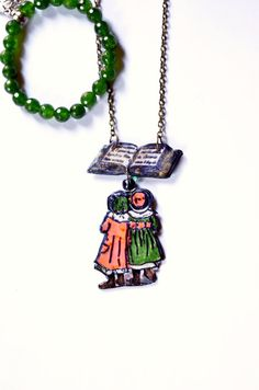 Carol Christmas gift song singer jewelry gift for sister book jewelry cute necklace gift for friend red green pendant gem bracelet set