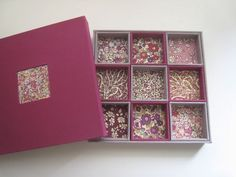 cartonnage patchwork styled tray in box
