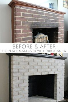 Fireplace Makeover with Brick-Anew Paint