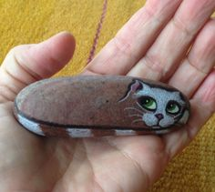 Hand Painted Rock Cat Petrified Cat Stone Cat. by qvistdesign, $12.00