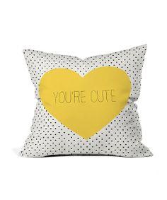 Polka Dot 'You're Cute' Outdoor Pillow