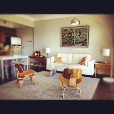 My mid-century modern, white & grey living room.