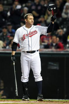 """Jim Thome <a class=""""pintag searchlink"""" data-query=""""%2325"""" data-type=""""hashtag"""" href=""""/search/?q=%2325&rs=hashtag"""" rel=""""nofollow"""" title=""""#25 search Pinterest"""">#25</a> of the Cleveland Indians waves to the crowd"""
