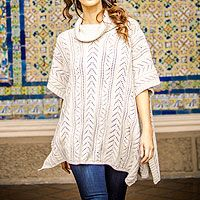 Alpaca blend poncho, 'Ivory Dreams' from @NOVICA, They help #artisans succeed worldwide.