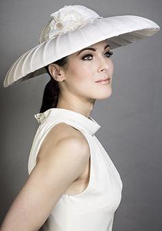 Rachel Trevor-Morgan Millinery - Ivory pleat organza bell with flower.