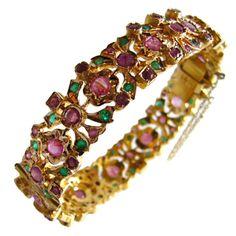 Ruby Emerald Gold Bangle Bracelet