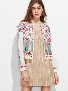 Multicolor Geometric Print Collarless Jacquard Jacket