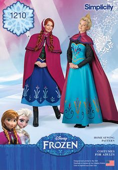 step into snowy a norwegian adventure with these disney frozen costumes for miss. pattern includes elsas coronation dress and cape, and annas adventure dress, cape and hat. simplicity sewing pattern.