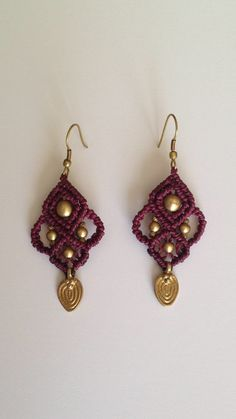 Tribal gypsy macrame earrings with brass beads- purple color