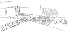 Hopefully the client's existing shed will withstand the move. Tucked away in the corner to make free up space in the sunnier part of the g Landscape Design, Garden Design, Cuprinol Garden Shades, Circular Patio, Sandstone Paving, Hardwood Decking, Side Gates, Fiberglass Planters, Earth Design