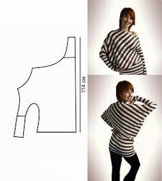 Interesting idea for pattern cutting a Jersey long-sleeve top / T-Shirt. the str… - DIY Clothes Sweater Ideen Diy Clothing, Sewing Clothes, Clothing Patterns, Sewing Patterns, Sewing Hacks, Sewing Tutorials, Diy Mode, Diy Couture, How To Make Clothes