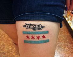 Chicago flag with skyline tattoo factory call 773 989 for Tattoo removal milwaukee